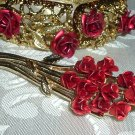 Charming Girls Red Rose Pin & Vintage Clamper Bracelet
