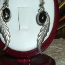 Lovely Vintage Southwestern Native American Sterling Silver Feather and Onyx Dangle Pierced Earrings