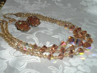 Stunning Vintage Topaz Aurora Borealis Crystal Triple Swag Necklace w/ Clip-On Earrings
