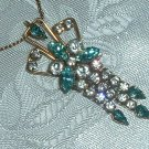 Lovely Old 1/20 12k Gold Filled Vintage Crystal Rhinestone Pendant - Pin w/ Fringe