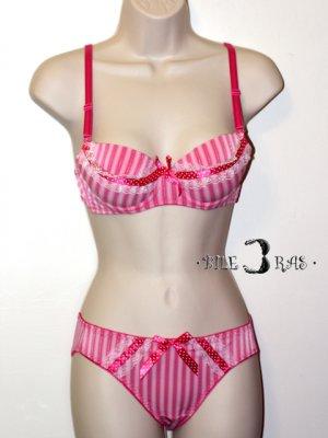 Hot Pink Lolita Lace Ribbon Push Up Bra Panties Set 34B