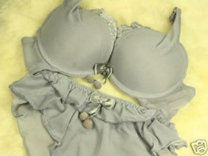Japan Cute Ball Gray Ribbon Lace Silky Bra Set 34A 75 A