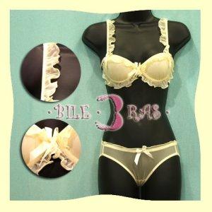 Japan Yellow Lace Scallop Silky Bra Panty Set 34A 75A