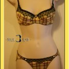Romance Princess Heart Plaid Lace Bra Set 32A Q Yellow