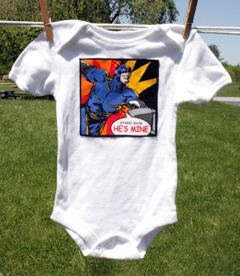 He's Mine! Super Hero Onesie size 18 months