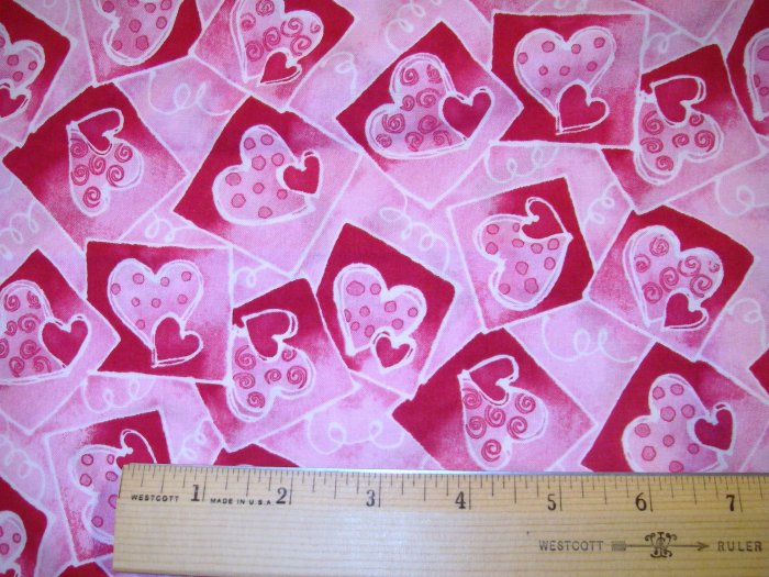 1 yard - Bright Hearts - Pink, Red fabric