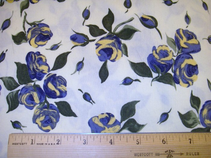 1 yard -  Blue/Yellow Paintbrush Stroke Flowers - Large Flowers fabric