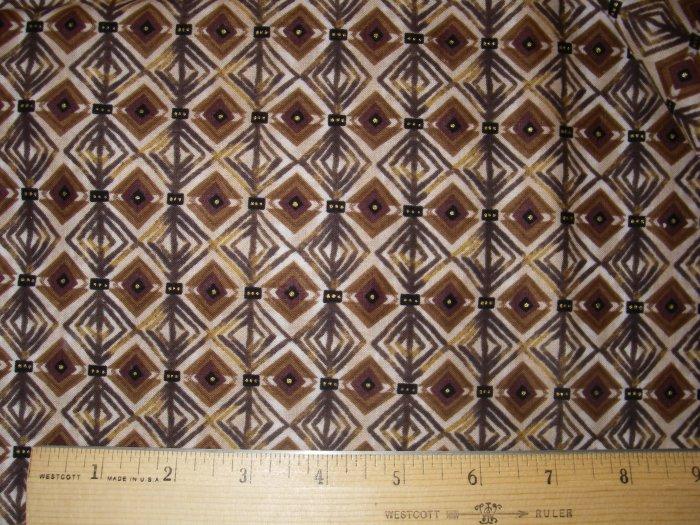 1.5  yard - African Brown Diamond design fabric