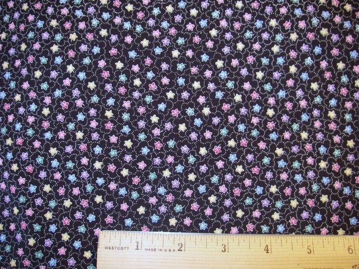 1 yard -  Black with Tiny Pastel Flowers fabric