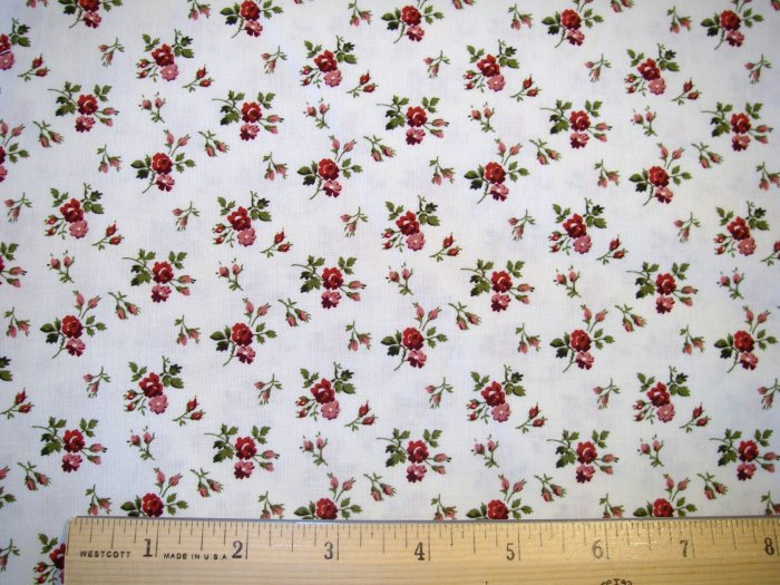 1 yard -  Marcus Brothers - Tiny Burgandy Roses fabric