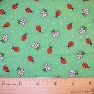 1 yard - Leaf green fabric with Lady bugs - Ladybugs