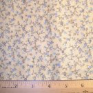1.33 yard - Butter yellow with light blue and aqua floral fabric