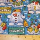 1.5 yard -  Funky Snowman on light blue fabric - Holiday, Christmas