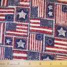 1.875 yard - American flags from Different Eras - Blue, Dark Red & off-white fabric - Patriotic USA