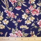 1 yard -  Navy Blue with pink, yellow and olive flowers and leaves all over fabric