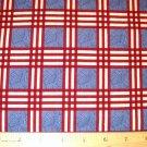 1.875 yard - Debbie Mumm - South Seas Imports - Red plaid with blue center blocks fabric