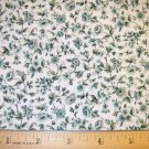 1.66 yard - Green Calico flowers on white background fabric