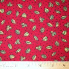 1 yard - English Collection - Red with Green leaves fabric - David Textiles