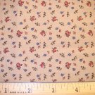 1.5 yard - Tan Reproduction Print with Tiny Red Rosebuds and Blue Flowers fabric