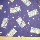 1.75 yard -  Blue with Golf scorecards, clubs, balls and tees all over fabric