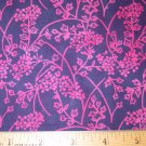 1 yard -  Pink and Navy blue batik fabric