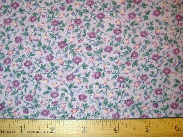 3/4 yard - Lavendar fabric with purple flowers and buds