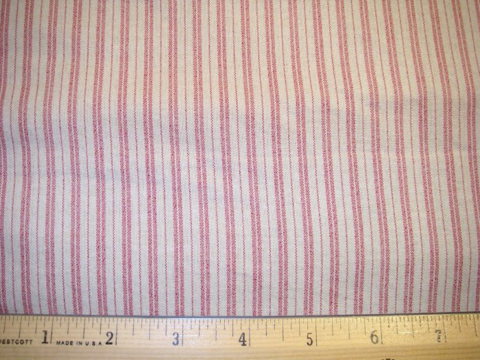 1 yard -  Tan with red ticking stripes
