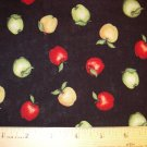7/8 yard -  Leslie Beck - Black with Red, Yellow and Green Apples tossed all over