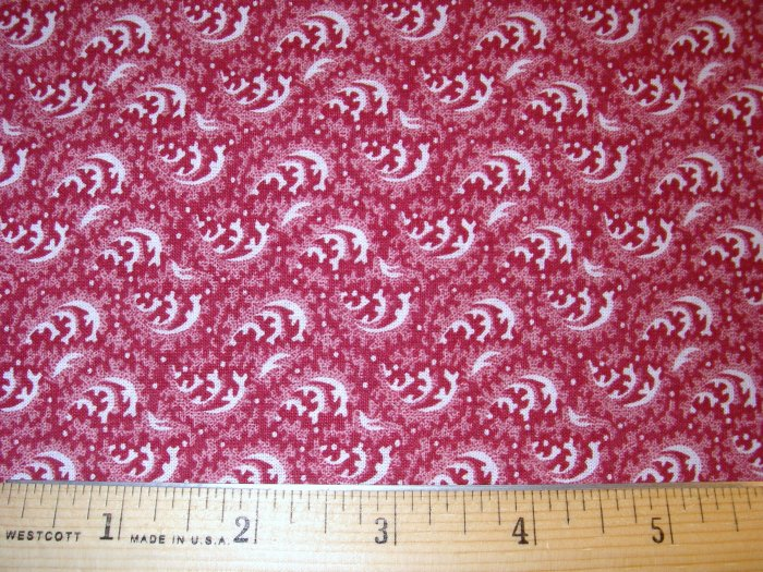 1.5 yard - Red fabric with white swirls - Reproduction Look - CRAFT QUALITY - Piece #1
