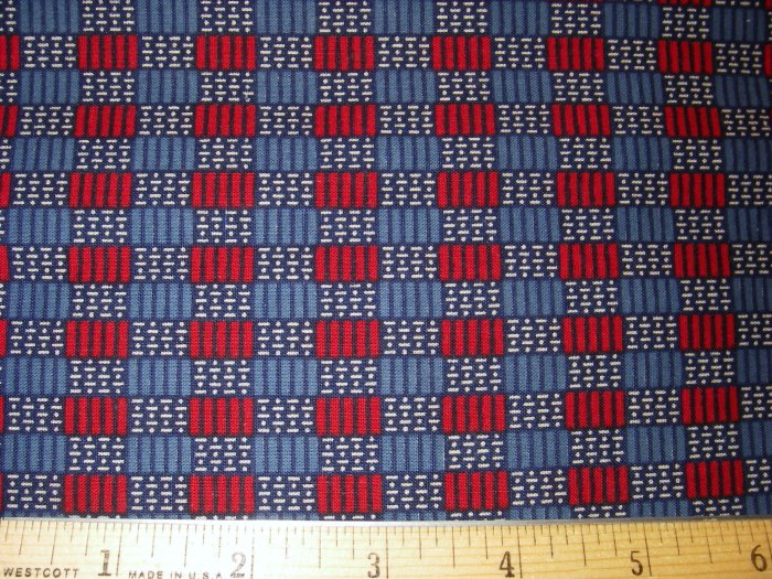 1.33 yard - Red and Blue with Navy and white accents - Checkerboard look fabric
