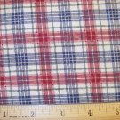 1.66 yard - Dark Red, Navy and Green plaid on off-white background fabric