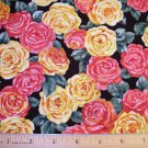 1 yard - Yellow and Salmon pink cottage roses on black fabric
