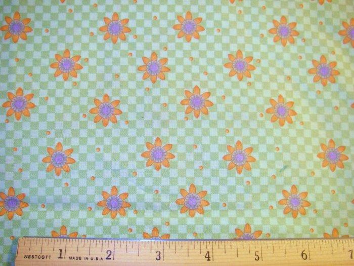 1.875 yard - Debbie Mumm - Green checkerboard with orange daisies all over fabric - Piece #2