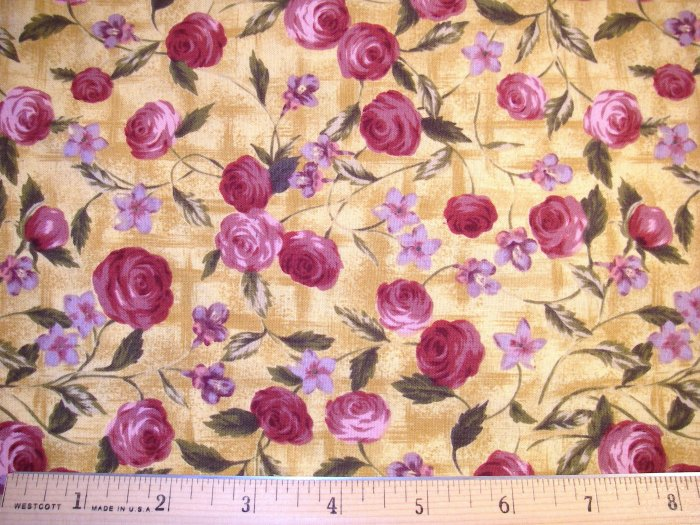 1 yard - Northcott - Sweet Caroline # 2198 - Ro Gregg - Yellow with Burgandy roses and olive leaves
