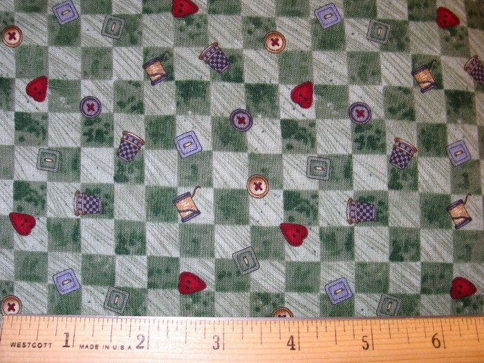 1.25 yard - Debbie Mumm - Buttons and Thread Coordinate - Green checkerboard fabric - Piece #2