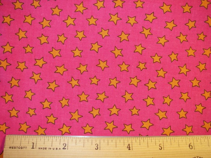 1 yard - Hot pink with Orange Stars fabric - VIP Cranston Print Works