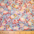 1 yard - Flock of Flamings allover blue water background fabric