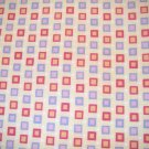 1.33 yard - Squares - Red with orange centers & blue, light purple centers, yellow background fabric