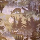 1.75 yards - Olive greens and browns - Forest print on flannel fabric