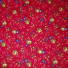 1 yard - Red fabric with yellow flowers and blue accents all over