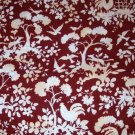 1.875 yards - Peaceable Kingdom - American folk Art Museum fabric - Dark rust, cream design all over