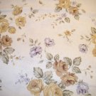1 yard - Off white fabric with tan and blue flowers and olive leaves