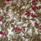 1.875 yards - Olive leaves with dark red berries on off tan fabric