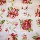 7/8 yard - Watercolor flowers all over tan and offwhite squares on fabric