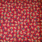 1.75 yard - Red fabric with tiny yellow flowers and green leaves all over