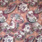 1.875 yards - Asian Splendor fabric - Parasols, light pink background, purple, green & blue accents