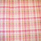 1 yard - Pink, green, yellow and white plaid fabric