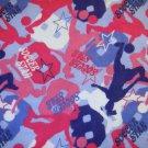 1.33 yard - Soccer Star flannel fabric - Pink, blue, purple, white - Piece #3