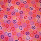 1 yard - Hot pink fabric with multi colored flowers all over
