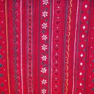 2.75 yards - Red fabric with tiny flowers, hearts and other designs all over in stripe pattern